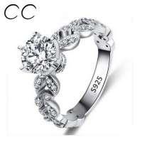 kupit-1.5 Карат 925 покрытие белое золото женское кольцо