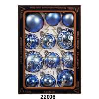 Yeni il şarlari 12 balls Royal Christmas Blue Shiny Mat Deco 60/80 mm (22006)