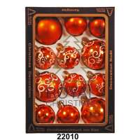 Yeni il şarlari 12 balls Royal Christmas Copper / Orange Shiny Mat Deco 60/80 mm (22010)