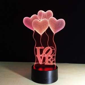 3D Ночник в форме сердечек