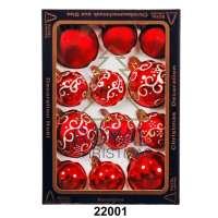 Yeni il şarlari 12 balls Royal Christmas Red Shiny Mat Deco 60/80 mm (22001)