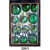 Yeni il şarlari 12 balls Royal Christmas Green Shiny Mat Deco 60/80 mm (22011)