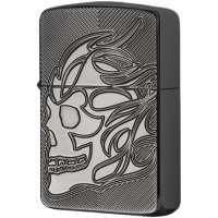 Зажигалка Zippo Armor Deep Carve Skull Black Ice